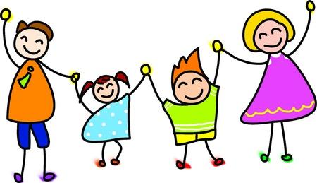 familia animada: mano familia feliz dibujado dibujos animados