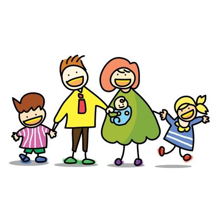 familia animada: familia con la ilustraci�n de la mano del beb� de dibujos animados empate Vectores