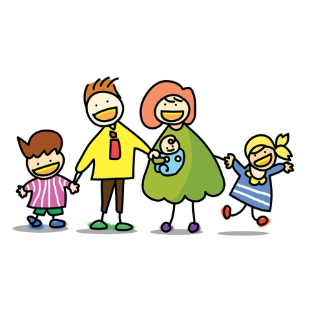 family  with baby hand draw cartoon illustration Illustration
