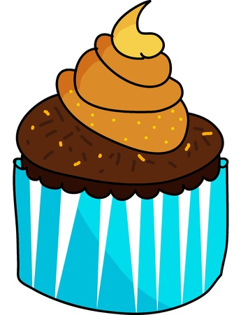 cup cake hand drawn illustration Stock Vector - 15861048