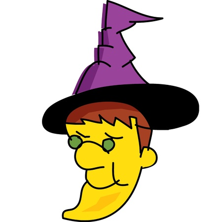 fantacy: witch  halloween cartoon characterhand drawn illustration