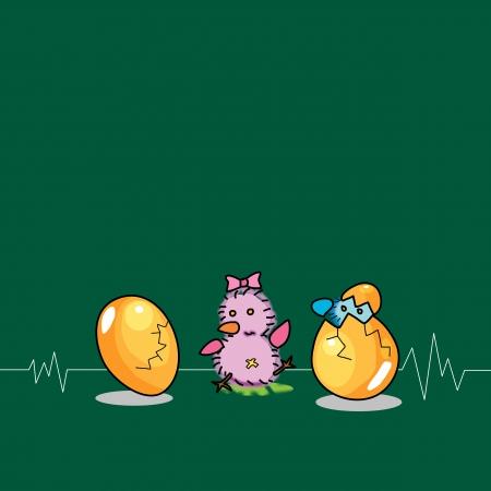 birthday egg cartoon hand drawn illustration Stock Vector - 15910904