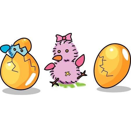 birthday egg cartoon hand drawn illustration Vetores