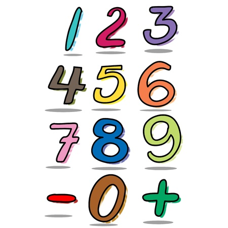 colorful number sets hand drawn Vector