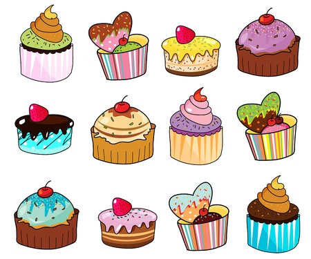 fancy cup cake hand drawn illustration Vector