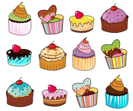 familia animada: mano de lujo torta de la taza dibujado Vectores