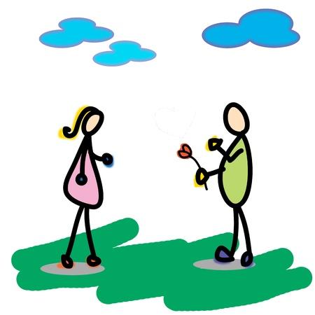 love cartoon hand drawn illustration