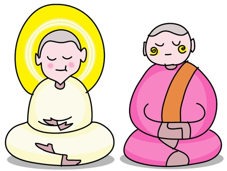 charactor: Buddhist nun cartoon hand drawn illustration