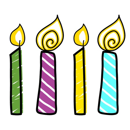 candles cartoon hand drawn illustration