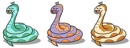 cartoon snake hand drawn symbol of the new year 2013 illustration Stock Vector - 15964870