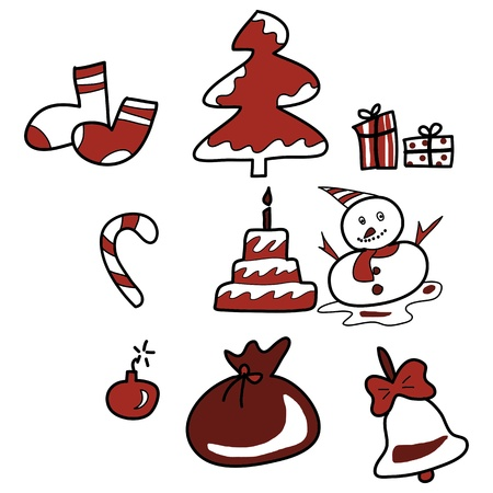 cartoon christmas and new year hand drawn illustrator Stock Vector - 15964905