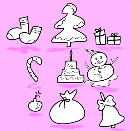 cartoon Boże Narodzenie i nowy rok ręcznie rysowane ilustrator