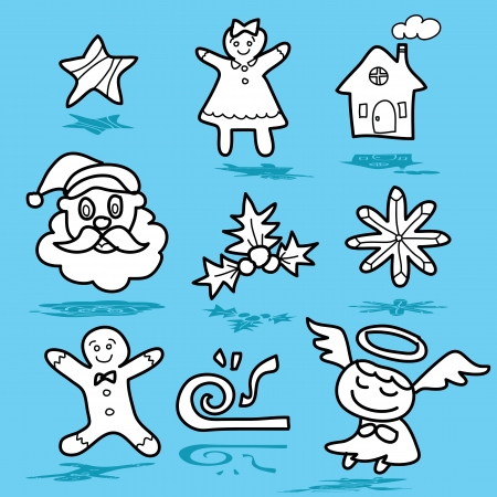 cartoon christmas and new year hand drawn illustrator Vector