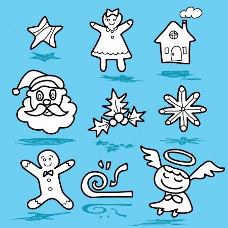 cartoon christmas and new year hand drawn illustrator Stock Vector - 15964930
