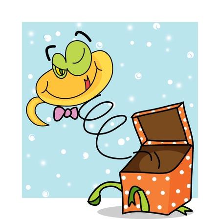 cartoon snake hand drawn symbol of new year 2013 illustration