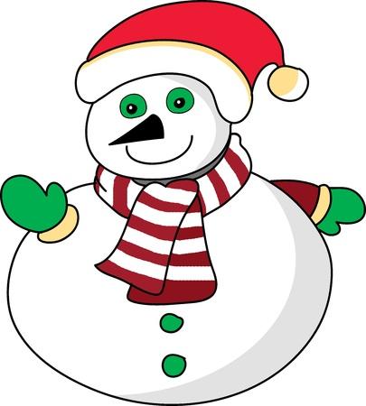cartoon snowman hand drawn illustration Stock Vector - 15965000