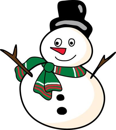 cartoon snowman hand drawn illustration Çizim