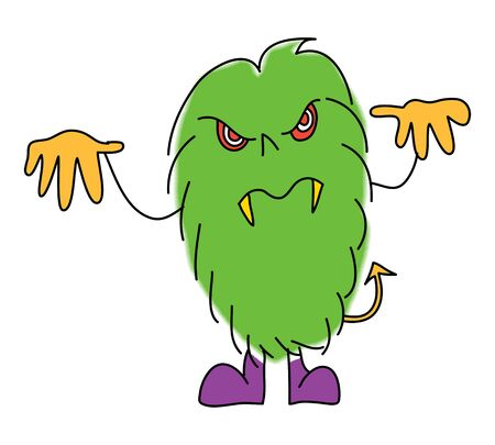 halloween monster cartoon charactor hand drawn illustration Vector