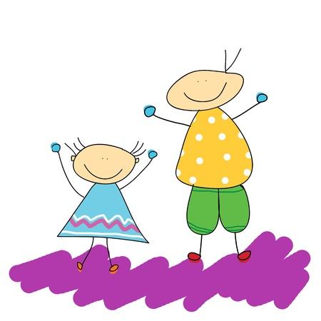 animated women:  parent hand drawn illustration Illustration