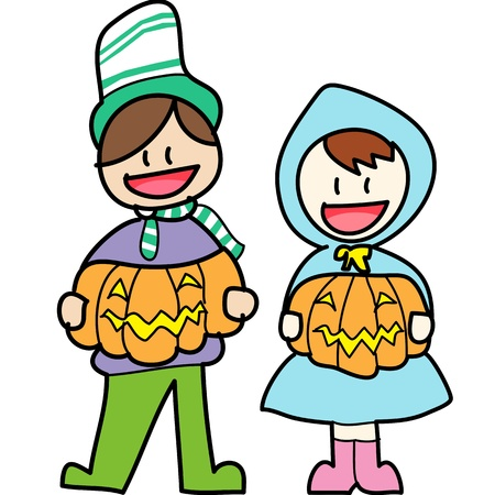 halloween cartoon charactor hand draw vector Vector