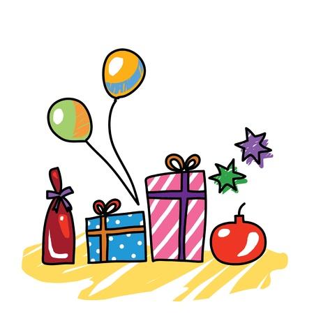 christmas gifts hand drawn illustration Stock Vector - 15965095