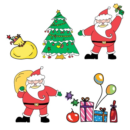 Santa claus christmas hand drawn illustration Vector