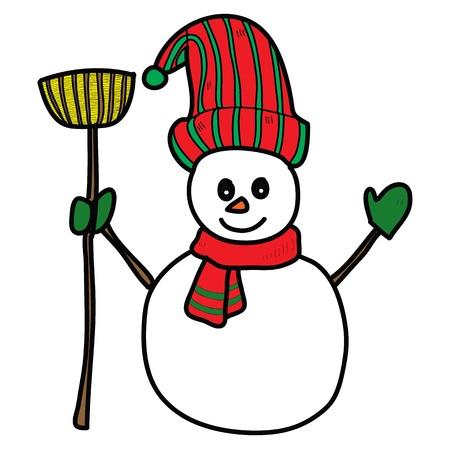prince of peace: cartoon snowman hand drawn illustration Illustration