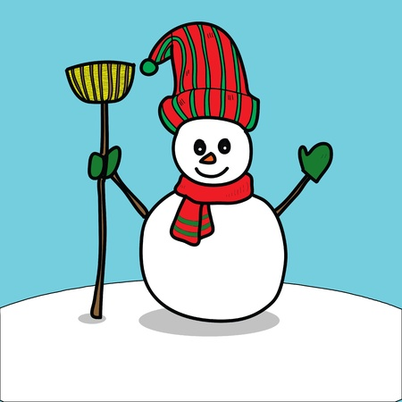 cartoon snowman hand drawn illustration Vector