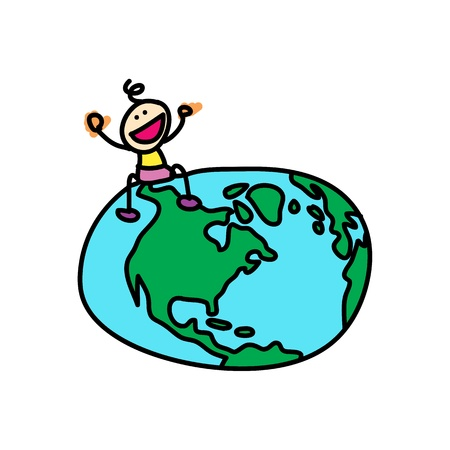 happy kid sit on the globe cartoon illustration Vector