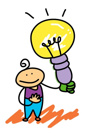 happy kid with light bulb thumb up cartoon illustration Vector