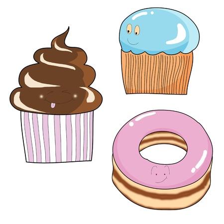 ice cream hand drawn cartoon illustration Vetores
