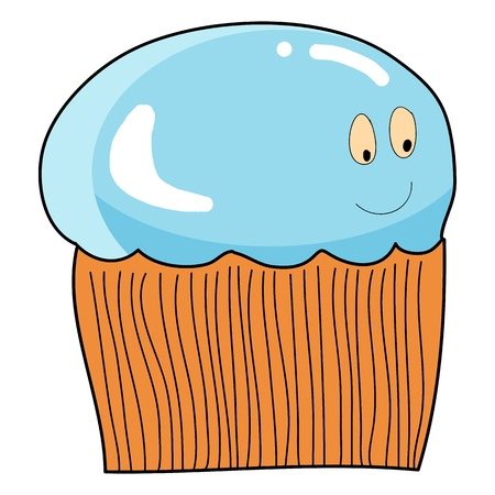 cup cake cartoon hand drawn illustration Vector