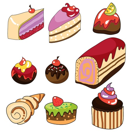 pastries hand draw cartoon illustration Vector
