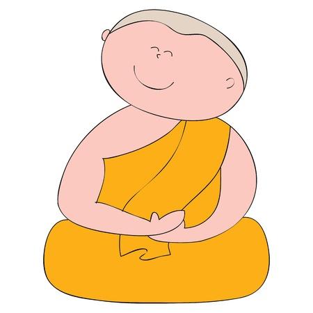 Buddhist monk cartoon hand drawn illustration Stock Vector - 16055616