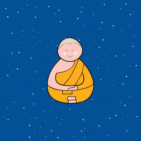 Buddhist monk cartoon hand drawn illustration Stock Vector - 16055597