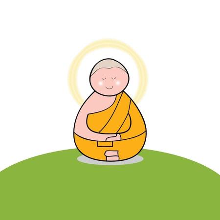 Buddhist monk cartoon hand drawn illustration Stock Vector - 16055622