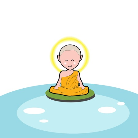 monk: Buddhist monk cartoon hand drawn illustration