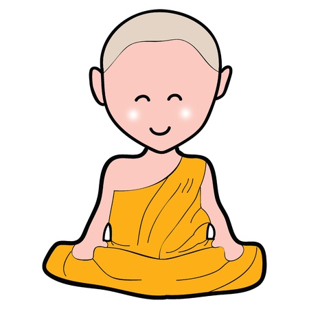 buddism: Buddhist monk cartoon hand drawn illustration