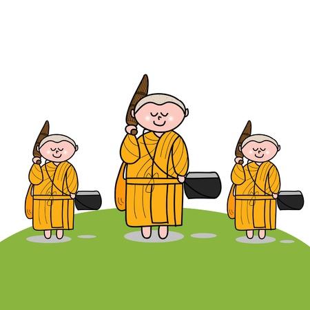Buddhist monk cartoon hand drawn illustration
