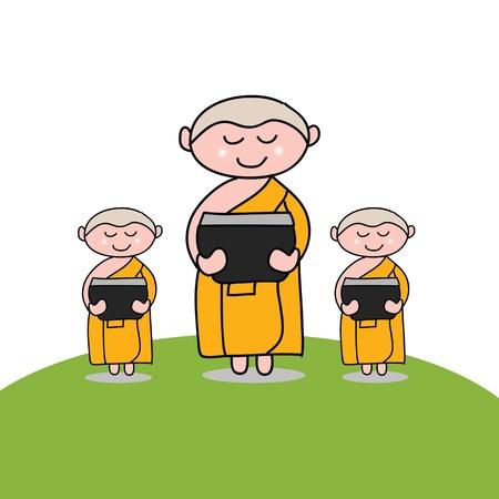buddhist monk: Buddhist monk cartoon hand drawn illustration