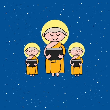 Buddhist monk cartoon hand drawn illustration Vector