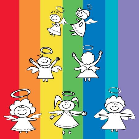 angels cartoon hand drawn for christmas Vector