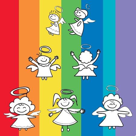 engelen cartoon hand getekende voor kerst Stock Illustratie