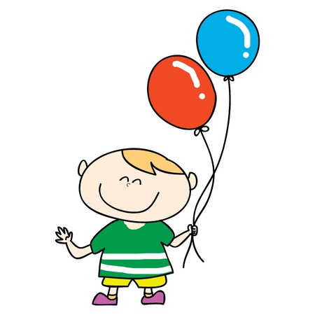 self esteem: happy boy smile with balloons cartoon hand drawn illustration