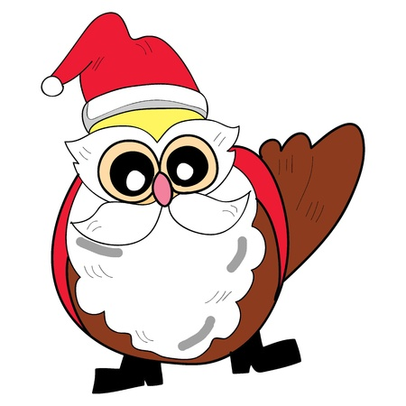 owl santa claus cartoon christmas hand drawn Vector
