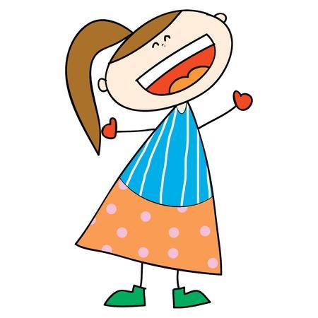 gelukkig meisje cartoon lachen hand getrokken illustratie Stock Illustratie