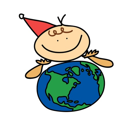 happiness girl think earth cartoon christmas hand drawn Stock Vector - 16055508