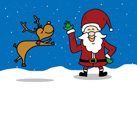 funny santa claus and reindeer cartoon hand drawn illustration Vector