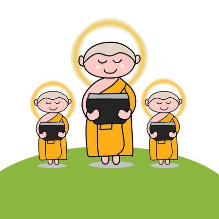 buddha tranquil: Buddhist monk cartoon hand drawn illustration