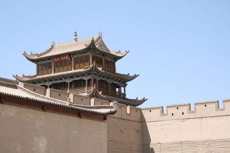 Jia Yu Guan ancient Chinese great wall fort located near Gobi desert in Gansu Province at the West end of the Great wall of China  It is a part of the ancient silk road as the immigration border pass and the military camp between China and Mongolia in the photo